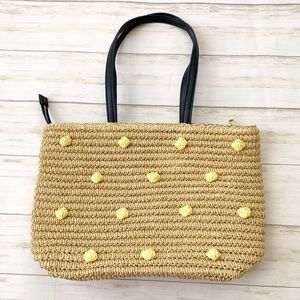 Talbots Medium Straw Woven Yellow Dot Tote Purse